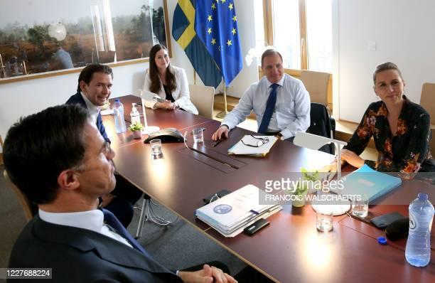 Netherlands' Prime Minister Mark Rutte Austria's Chancellor Sebastian Kurz Finland's Prime Minister Sanna Marin Sweden's Prime Minister Stefan Lofven...