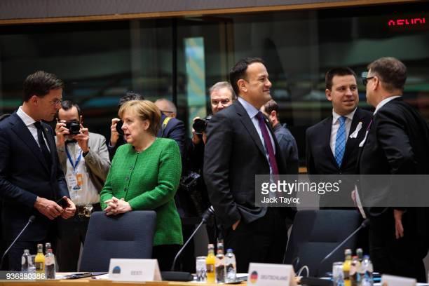 Netherland's Prime Minister Mark Rutte German Chancellor Angela Merkel Taoiseach of Ireland Leo Varadkar Prime Minister of Estonia Juri Ratas and...