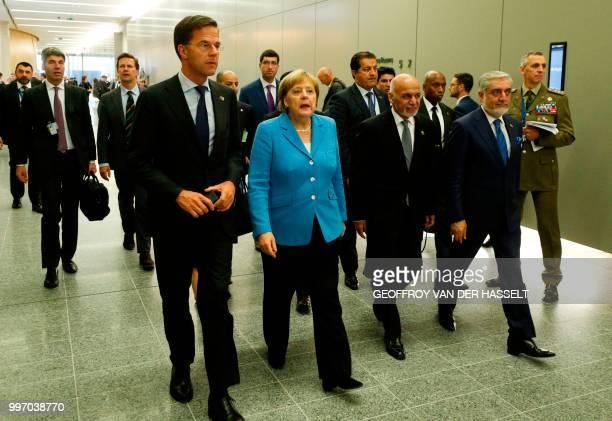Netherlands' Prime Minister Mark Rutte Germany's Chancellor Angela Merkel Afghanistan's President Ashraf Ghani and Afghan Chief Executive Abdullah...