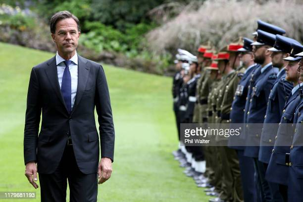 Netherlands Prime Minister Mark Rutte inspects a guard of honour following a powhiri at Government House on October 08, 2019 in Auckland, New...