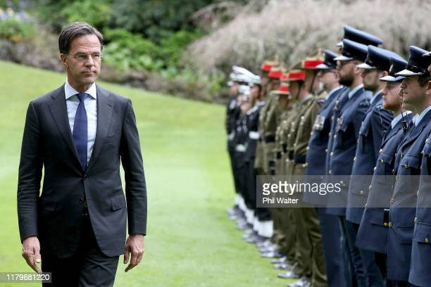 Netherlands Prime Minister Mark Rutte inspects a guard of honour following a powhiri at Government House on October 08 2019 in Auckland New Zealand...