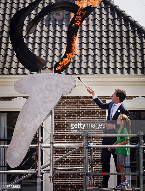 Netherlands Prime Minister Mark Rutte lights the fire and opens the Liberation Day festival in Wageningen on May 5, 2011. Liberation Day is...