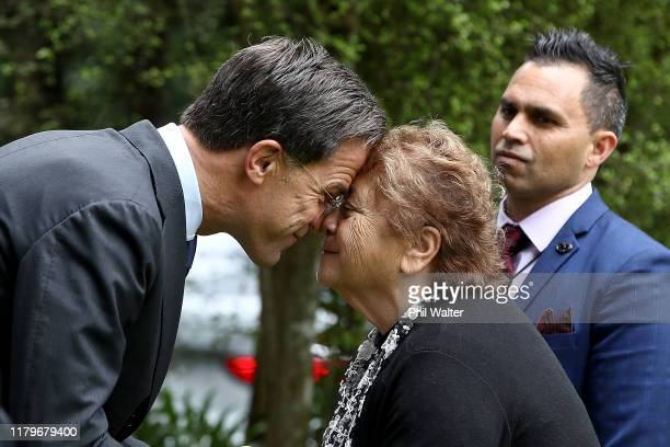 Netherlands Prime Minister Mark Rutte shares a traditional maori greeting of a hongi with Kuia Mrs Ranui Ngarimu during a powhiri at Government House...