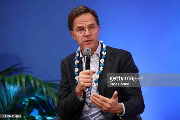Netherlands Prime Minister Mark Rutte speaks at Auckland University on October 08, 2019 in Auckland, New Zealand. Netherlands Prime Minister Mark...