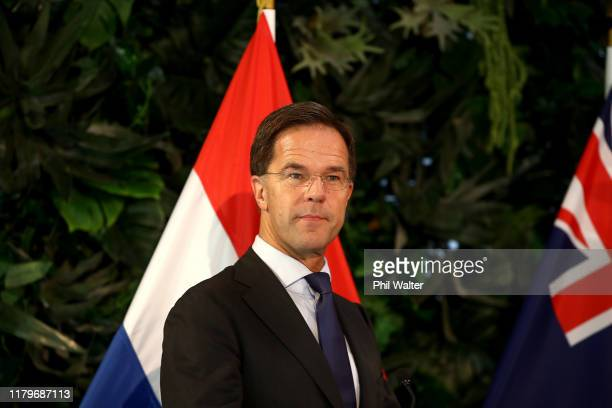 Netherlands Prime Minister Mark Rutte speaks during a joint press conference at Government House with New Zealand Prime Minister Jacinda Ardern on...
