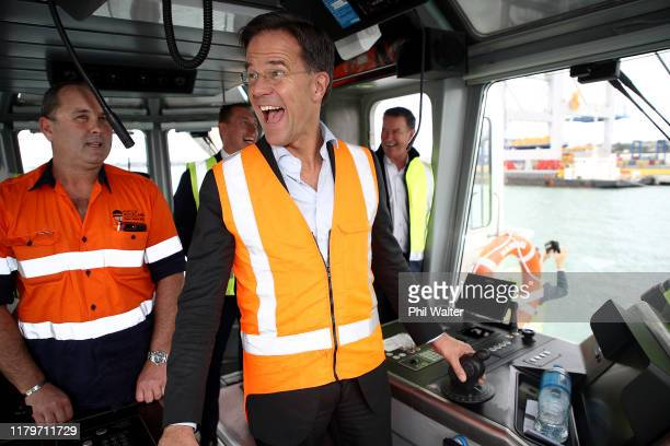Netherlands Prime Minister Mark Rutte takes the helm of the Ports of Auckland tugboat Hauraki on October 08 2019 in Auckland New Zealand Netherlands...
