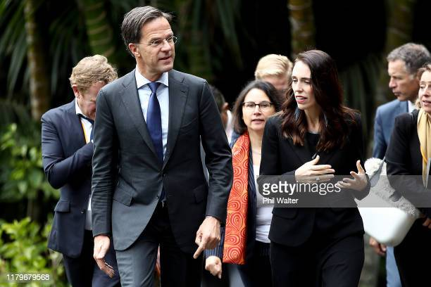 Netherlands Prime Minister Mark Rutte walks with New Zealand Prime Minister Jacinda Ardern following a powhiri at Government House on October 08 2019...
