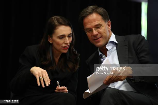 Netherlands Prime Minister Mark Rutte with New Zealand Prime Minister Jacinda Ardern at Auckland University on October 08 2019 in Auckland New...