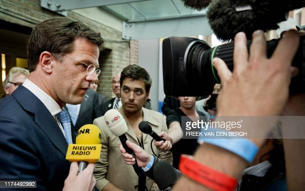 Netherlands Prime Minister Mark Rutte with singer and Ambassador for Freedom Waylon speak to the media at the Liberation Day festival in Wageningen...