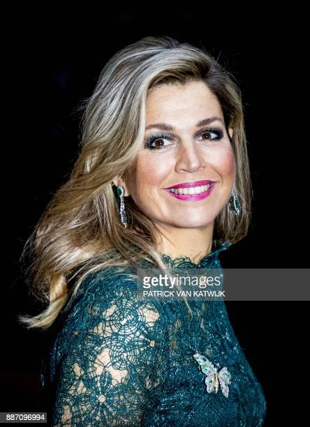 Netherlands' Queen Maxima arrives for the awards ceremony for the Prince Claus Prize on December 6 2017 in Amsterdam Seven artists received the prize...
