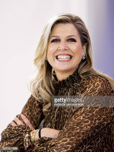 Netherland's Queen Maxima visits an event of non-profit credit organization Qredits in The Hague on March 25 2021. - Netherlands OUT / Netherlands OUT
