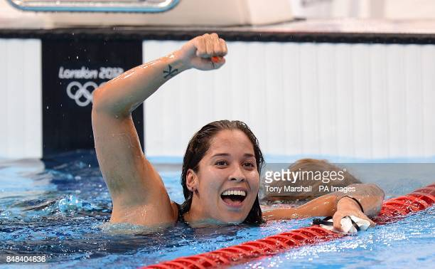 Netherlands' Ranomi Kromowidjojo celebrates after winning the Women's 100m Freestyle Final at the Aquatics Centre in the Olympic Park London on the...
