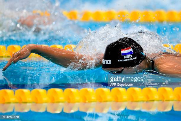 Netherlands' Ranomi Kromowidjojo competes in a semifinal of the women's 50m freestyle during the swimming competition at the 2017 FINA World...