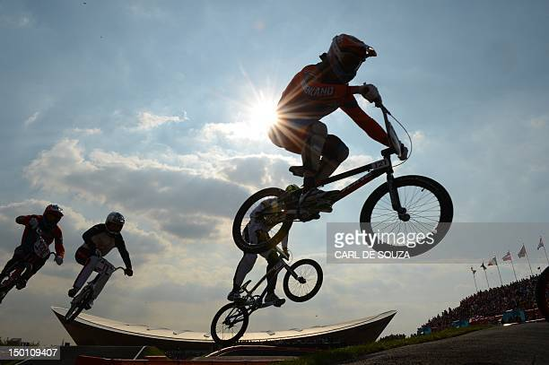 Netherlands' Raymon van der Biezen takes a jump during the BMX cycling men's final event at the London 2012 Olympic Games in the Olympic Park in east...