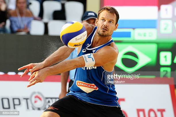 Netherland's Reinder Nummerdor receives a ball during the game between Netherlands and Brazil on day 6 of the FIVB Moscow Grand Slam at sports...