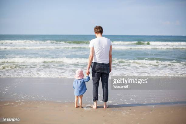 Netherlands, Renesse, father and daughter standing at beach