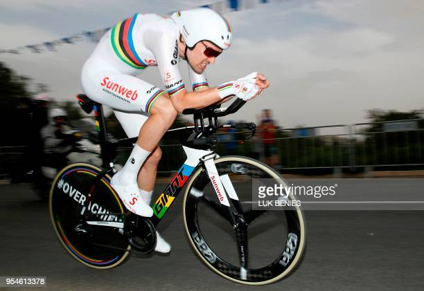 TOPSHOT Netherlands' rider of team Sunweb Tom Dumoulin rides during the 1st stage of the 101st Giro d'Italia Tour of Italy on May 4 a 97 kilometers...