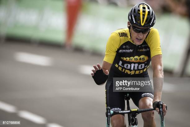 Netherlands' Robert Gesink reacts as he crosses the finish line at the end of the 1875 km eighth stage of the 104th edition of the Tour de France...