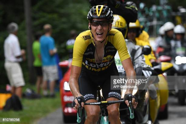 Netherlands' Robert Gesink rides in a breakaway during the 1875 km eighth stage of the 104th edition of the Tour de France cycling race on July 8...