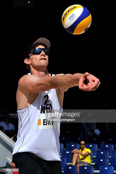 Netherlands' Robert Meeuwsen controls the ball during the BrouwerMeeuwsen v FijalekPrudel game as part of the FIVB Gstaad Grand Slam fourth day on...