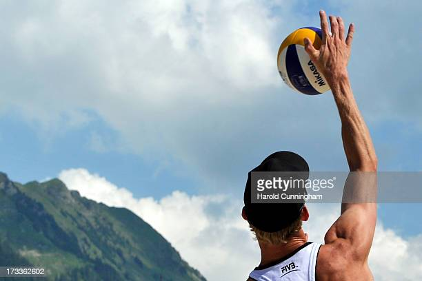 Netherlands' Robert Meeuwsen serves the ball during the BrouwerMeeuwsen v FijalekPrudel game as part of the FIVB Gstaad Grand Slam fourth day on July...