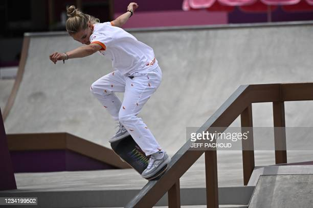 Netherlands' Roos Zwetsloot competes in the skateboarding women's street final of the Tokyo 2020 Olympic Games at Ariake Sports Park in Tokyo on July...