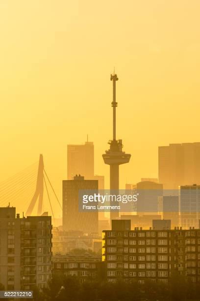 Netherlands, Rotterdam, Skyline with Euromast