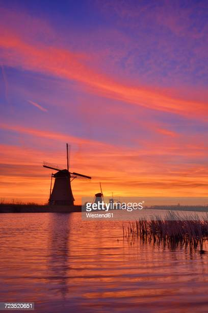 Netherlands, Rotterdam, Windmills at Kinderdijk at sunrise