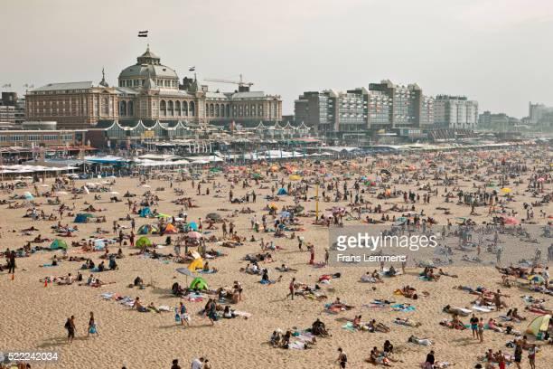 Netherlands, Scheveningen, People Sunbathing On Beach
