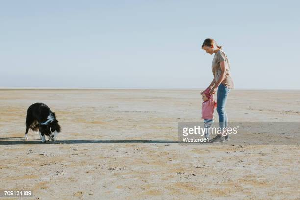 netherlands, schiermonnikoog, mother walking with little daughter on the beach at low tide - friesland noord holland stockfoto's en -beelden