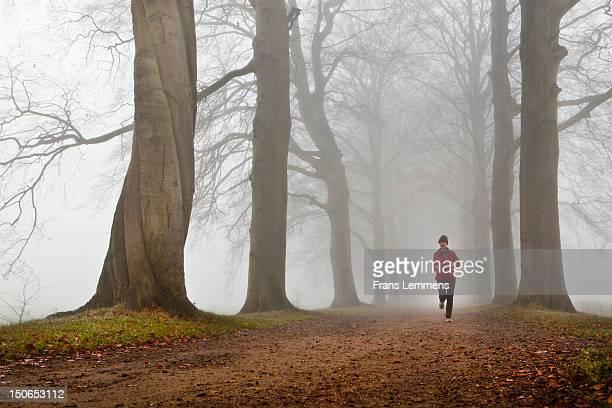 Netherlands, 's-Graveland, Woman running