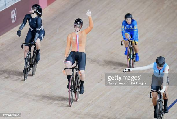 Netherlands' Shanne Braspennincx celebrates gold in the Women's Keirin Final at Izu Velodrome on the thirteenth day of the Tokyo 2020 Olympic Games...