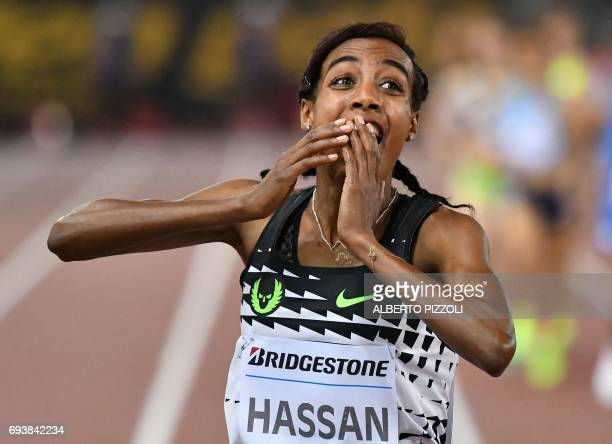 Netherlands' Sifan Hassan celebrates after winning the women's 1500m event at the Rome meeting of the IAAF Diamond League athletics competition at...