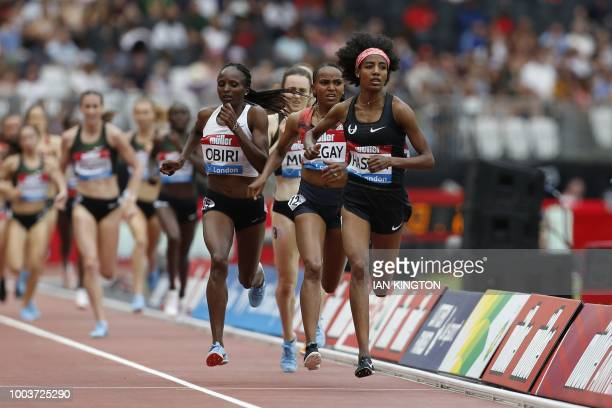Netherlands Sifan Hassan runs to win the Women's 1 mile event during the the IAAF Diamond League Anniversary Games athletics meeting at the Queen...