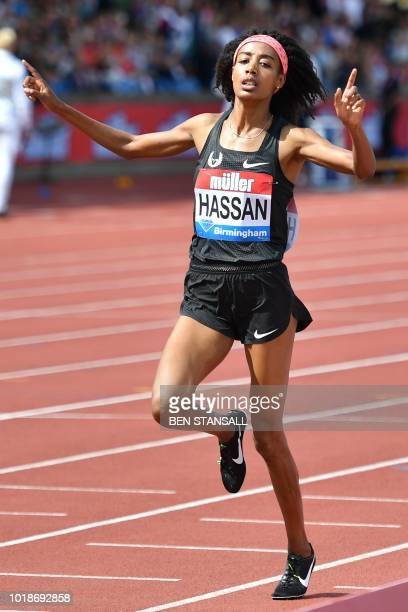 Netherlands' Sifan Hassan wins the women's 1500m during the 2018 IAAF Birmingham Diamond League athletics meeting at Alexander Stadium in Birmingham...