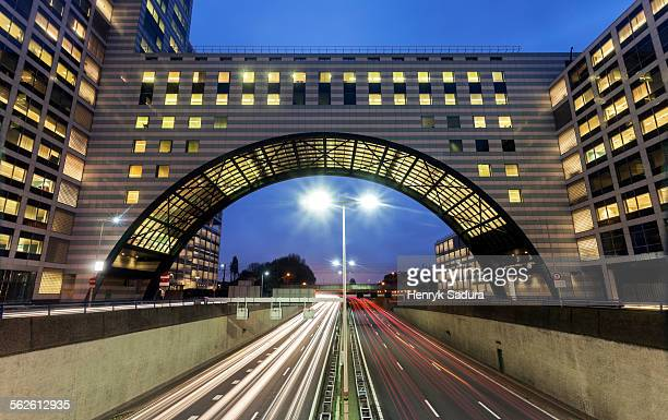 netherlands, south holland, hague, city street at sunrise - the hague stock pictures, royalty-free photos & images