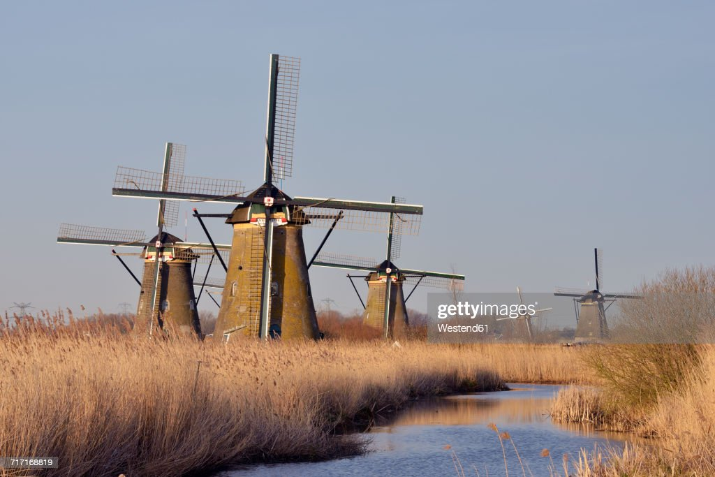 Netherlands, South Holland, Kinderdijk, Windmills at a canal with warm morning light : Stock Photo