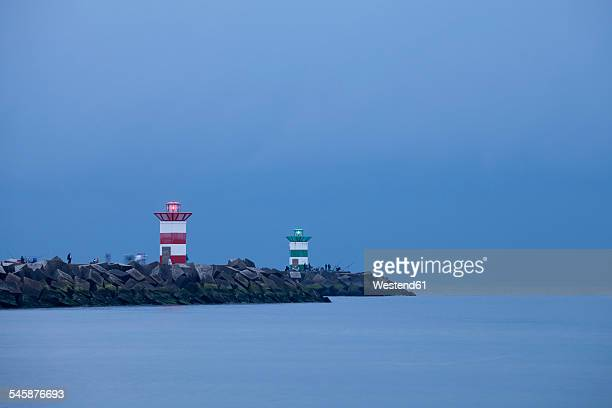 Netherlands, South Holland, The Hague, Scheveningen, Lighthouse in the evening