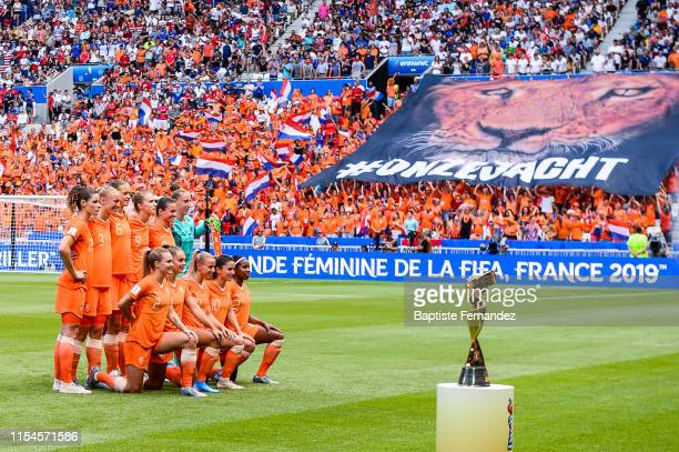Netherlands starting lines up before the 2019 FIFA Women's World Cup France Final match between United States and Netherlands at Groupama Stadium on...