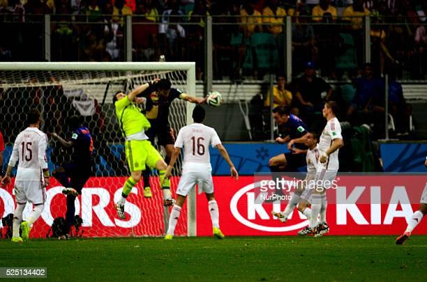 Netherland's Stefan de Vrij scores 31 against Iker Casillas goal at the 2014 World Cup match between Spain and Netherlands in Salvador Brasil this...