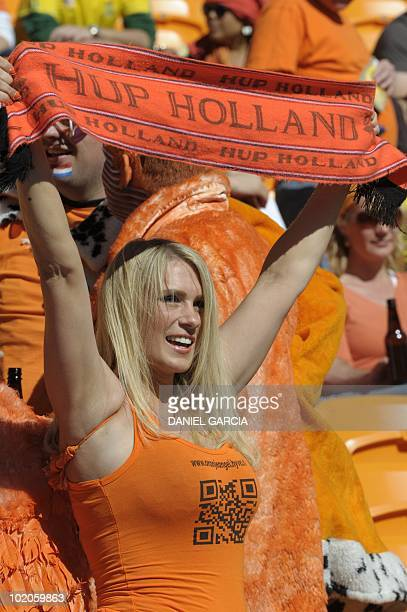 A Netherlands' supporter waves a scarf prior the Group E first round 2010 World Cup football match Netherlands vs Denmark on June 14 2010 at Soccer...
