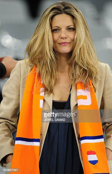 A Netherlands' supporter wears an orange scarf prior the 2010 World Cup semifinal match Uruguay vs Netherlands on July 6 2010 at Green Point stadium...