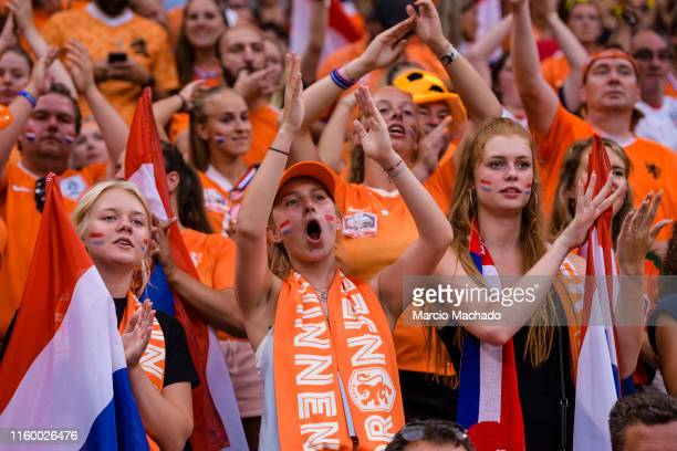 Netherlands supporters having fan during the 2019 FIFA Women's World Cup France Semi Final match between Netherlands and Sweden at Stade de Lyon on...