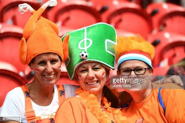 Netherlands' supporters pose prior to the UEFA Womens Euro 2017 football tournament final match between Netherlands and Denmark at Fc Twente Stadium...