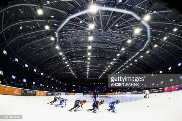 Netherland's Suzanne Schulting and compatriot Xandra Velzeboer compete in the semi-final the 1000 meters on the final day of the ISU World Short...