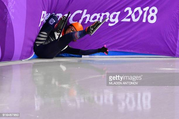 Netherlands' Suzanne Schulting crashes in the women's 500m short track speed skating heat event during the Pyeongchang 2018 Winter Olympic Games, at...