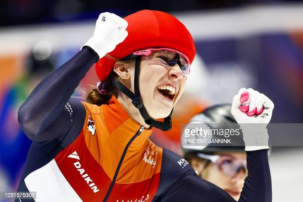 Netherlands Suzanne Schulting reacts after winning the 1000 meters final on the final day of the ISU World Short Track Speed Skating Championships at...