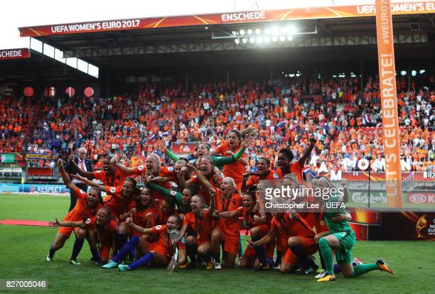 Netherlands team celebrate after winning the Final of the UEFA Women's Euro 2017 between Netherlands v Denmark at FC Twente Stadium on August 6, 2017...