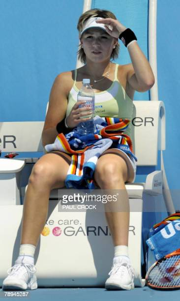 Netherlands tennis player Michaella Krajicek gestures during a break in her womens singles match against Japanese opponent Akiko Morigami at the...