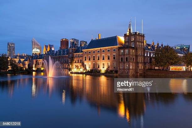 Netherlands, The Hague, Binnenhof at night